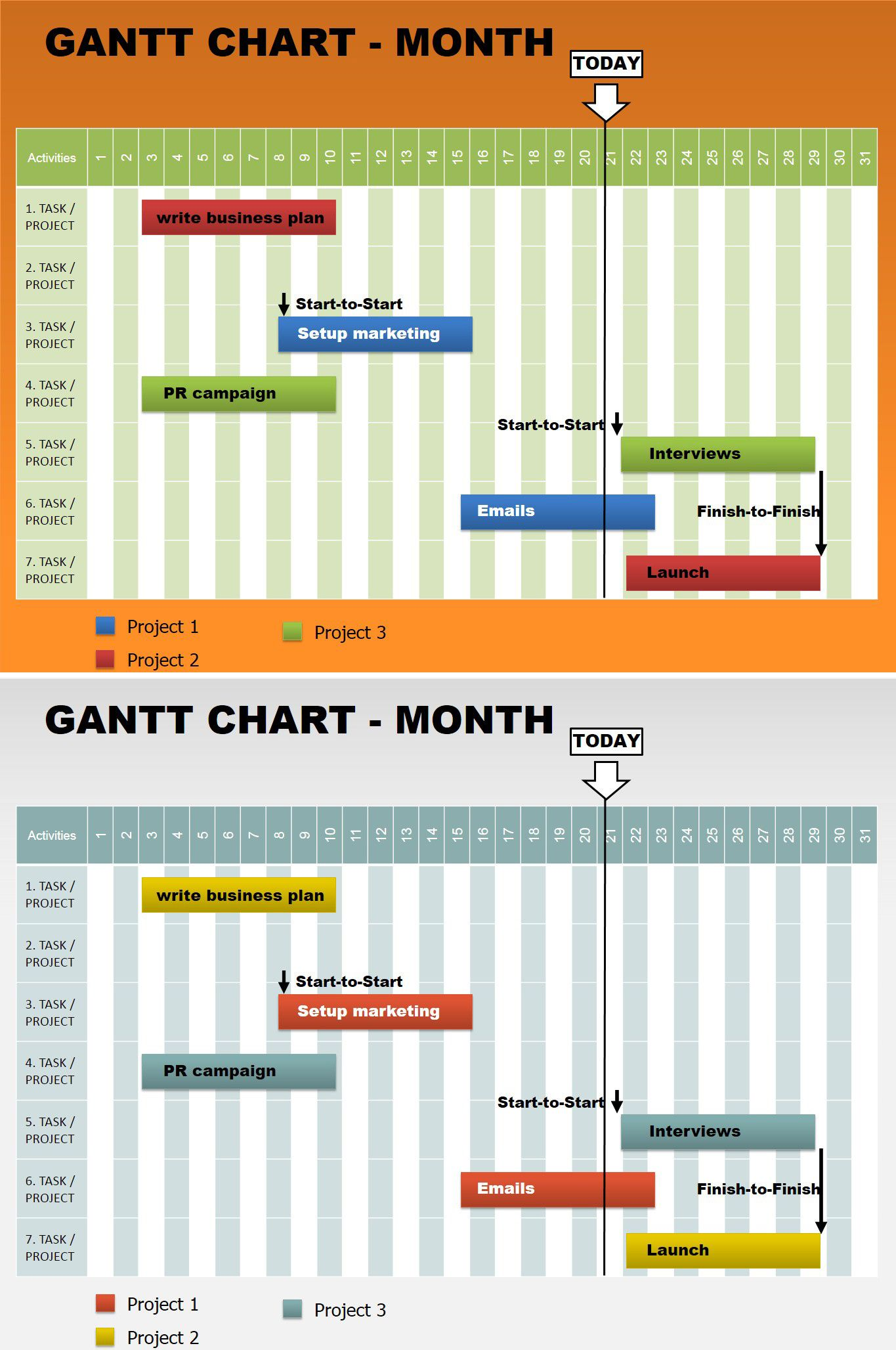 download month gantt free powerpoint charts | free powerpoint, Powerpoint templates