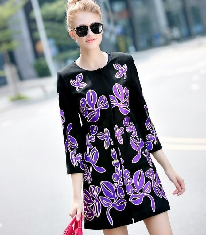 Women'S Round Collar Seven Sleeve Purple Embroidered Overcoat Jacket Outwear