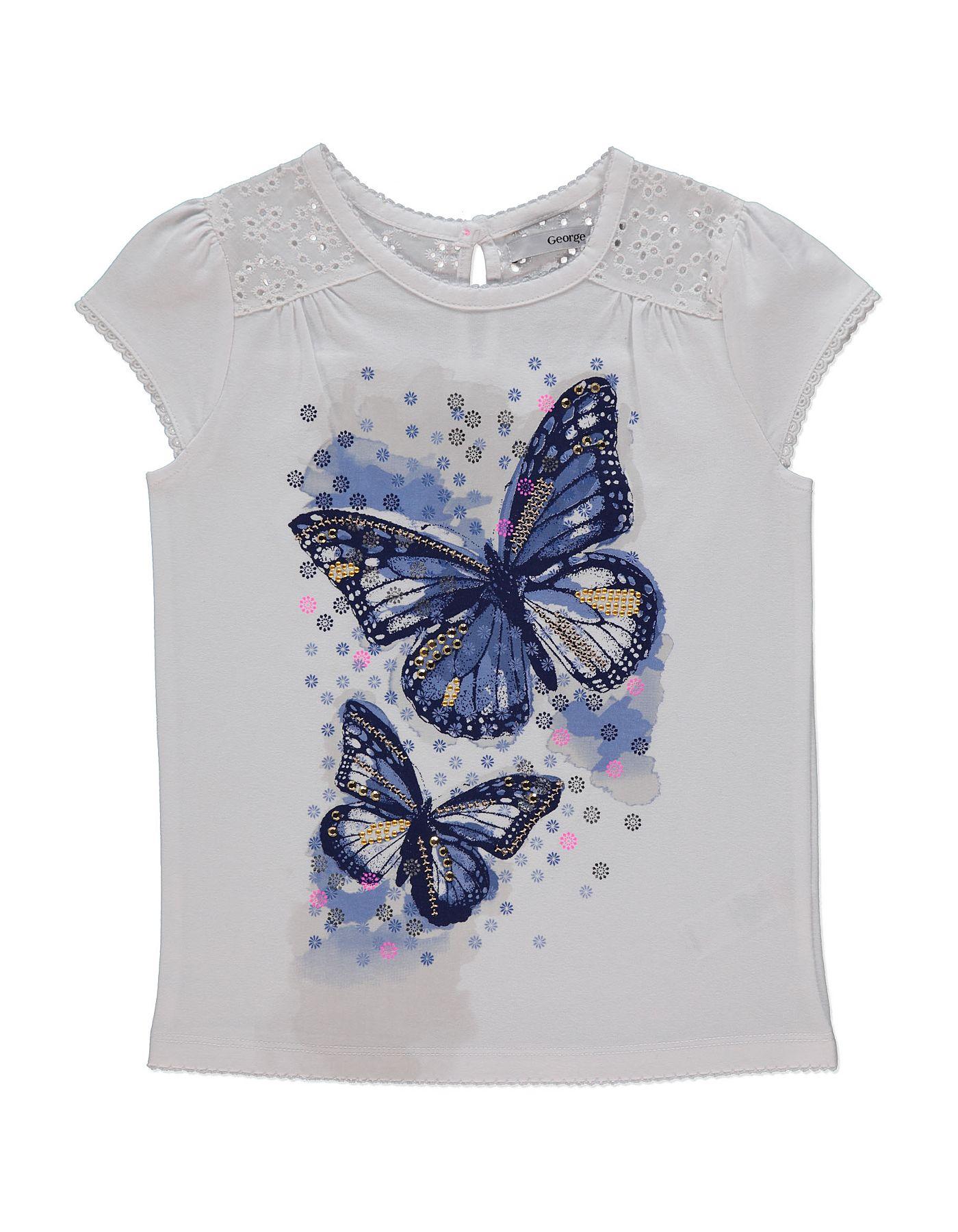 Black t shirt asda - Butterfly Print T Shirt Kids George At Asda