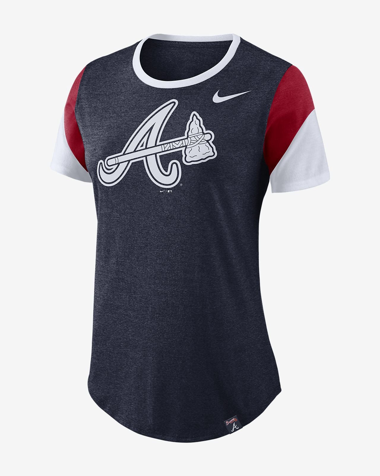 Nike Tri Blend Mlb Braves Women S T Shirt Xl Navy Color Block Tee Nike Women T Shirts For Women
