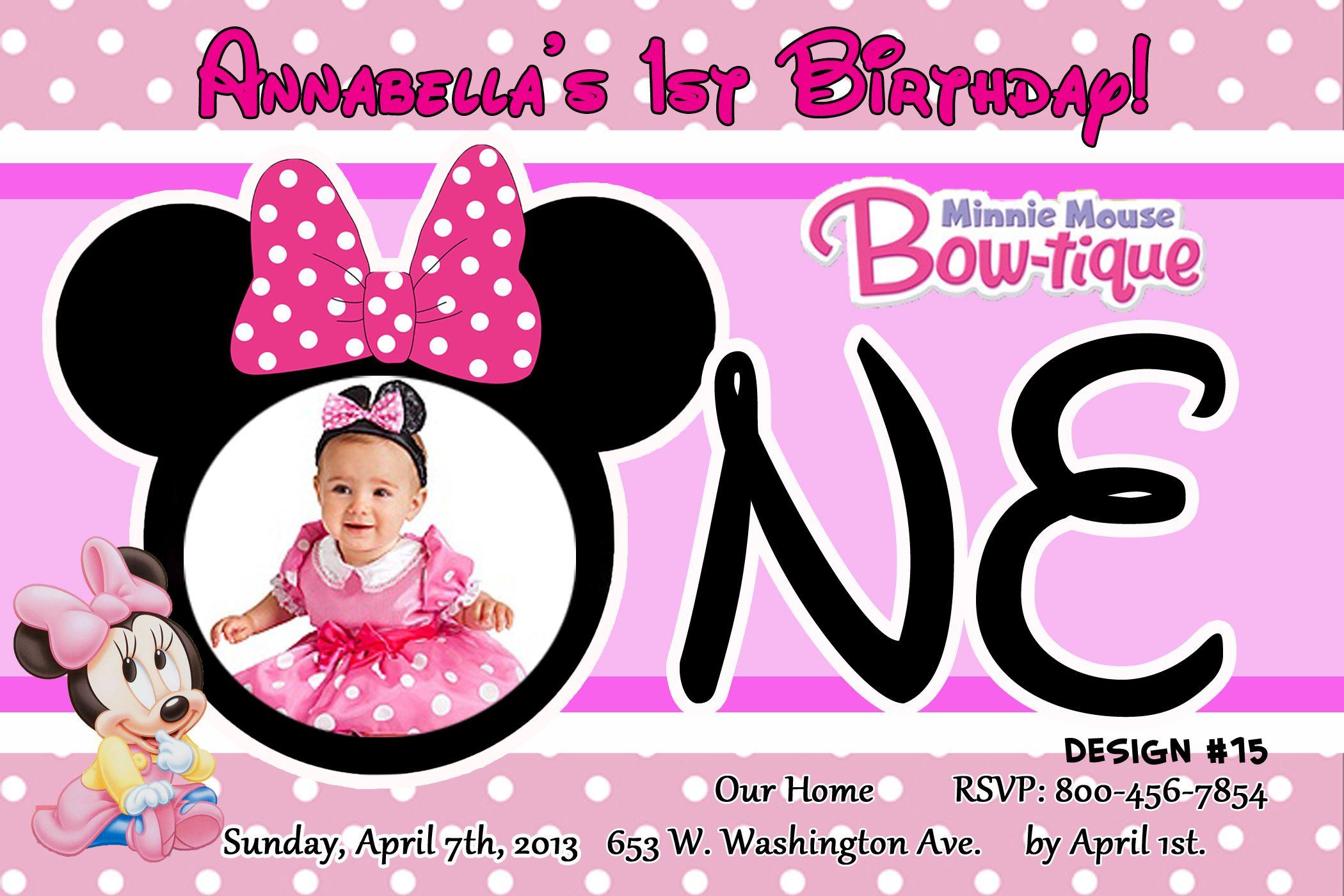 Minnie Mouse 1st Birthday Invitations   Minnie Mouse Birthday ...