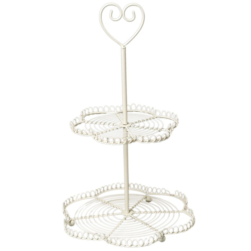 Sweetheart Cream Wire Cake Stand