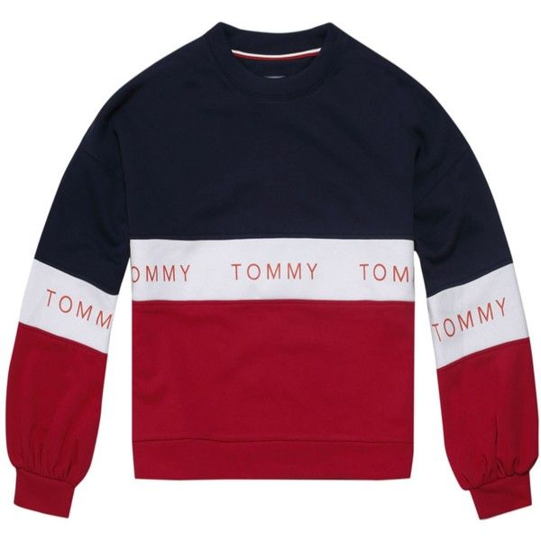 478bcbe18b3b Tommy Hilfiger Tommy Jeans Colour Blocked Logo Sweatshirt (420 RON) ❤ liked  on Polyvore featuring tops