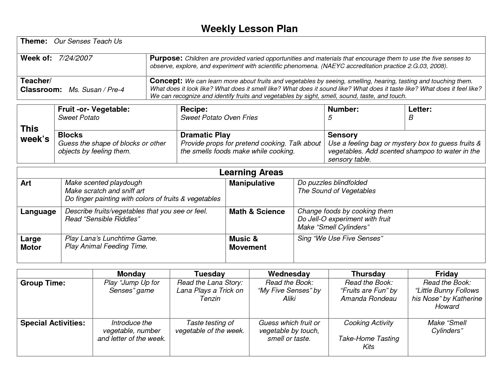 NAEYC Lesson Plan Template For Preschool Sample Weekly Lesson - Preschool weekly lesson plan template