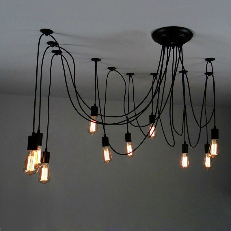 This Matte Black Swag Pendant Light Offers Glamour And Chic Style The Design Features 10 Lights That Hung From Top Canopy
