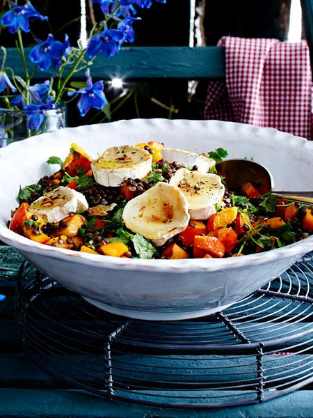Pumpkin and lentil salad with goat cheese and walnuts