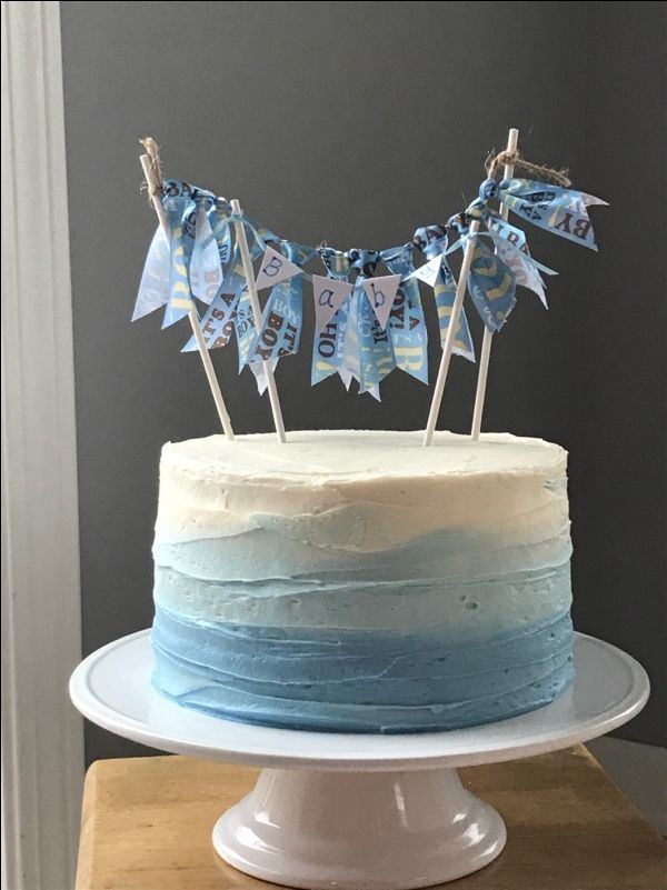 Simple Boy Baby Shower Cake With Blue Ombr 233 And Double