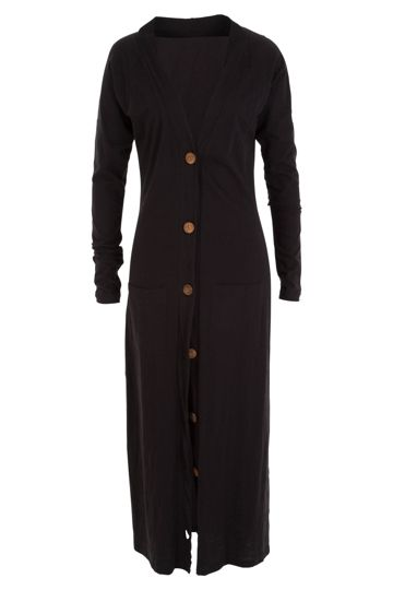 a great long cardi (I would change buttons to blac ) but nice quality and really long - cool with jeans and boots or dresses