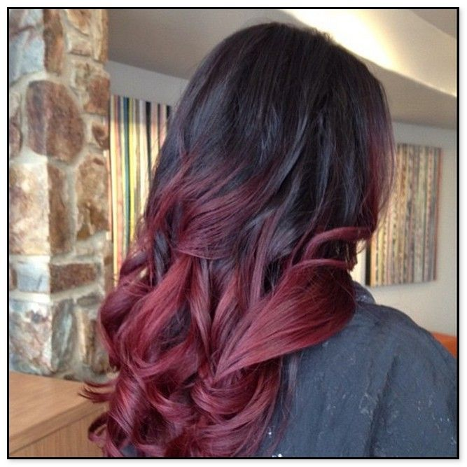 Dark Brown Hair With Red Tips Red Hair Tips Ombre Hair Color For Brunettes Hair Color Mahogany