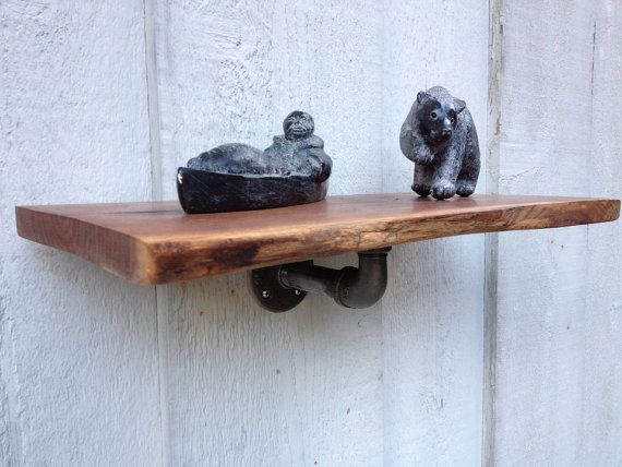 Raw Edge Wood Shelf W One Lower Steel Pipe Support On Etsy 65 00