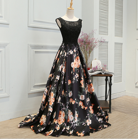 Stylish A line lace long prom dress,evening dress,formal dresses,P1278