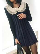 Korean Style Lace Doll Collar Knit Dress Blue US$ 16.66 http://www.global-wholesale.net/Korean-Style-Lace-Doll-Collar-Knit-Dress-Blue_g33111.html