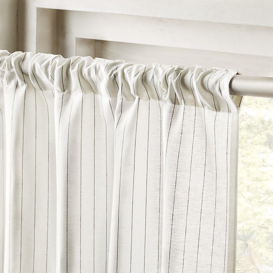 Pinstripe White Black Curtain Panel Black Curtains White