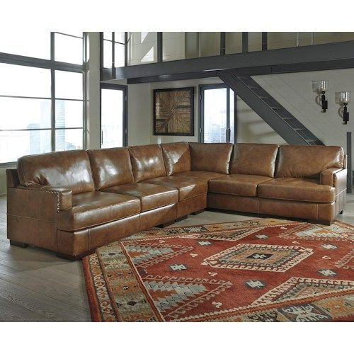Signature Design by Ashley Vincenzo Leather Match 3-Piece Sectional  sc 1 st  Pinterest : ashley sectional microfiber - Sectionals, Sofas & Couches