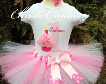 Pink--3D Cupcake--Baby Girl 1st Birthday Tutu Set--Party Outfit-- Photo Prop