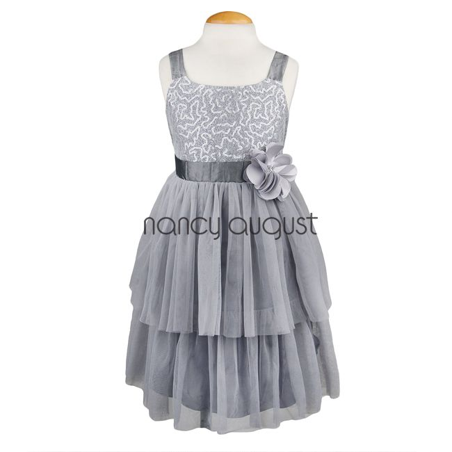 Silver Sky Two-tiered With Sequin Girl Dress: Confident