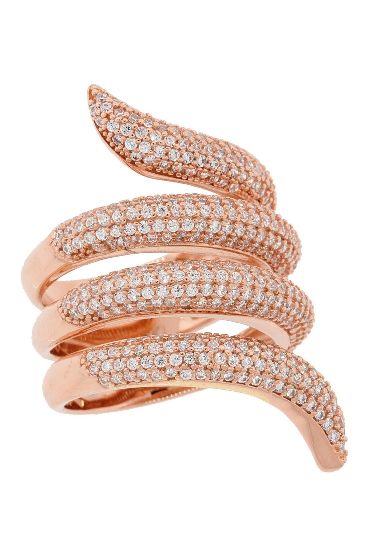 18K Rose Gold Plated Sterling Silver Pave CZ Wrap Ring on @HauteLook