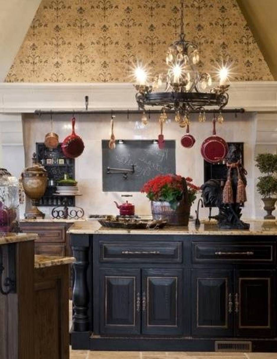 French Country Kitchen With Distressed Black Kitchen Cabinets Country Kitchen French Country Kitchen Black Kitchen Island