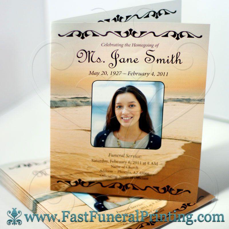 Sunset Beach Theme - Legal Half Fold Funeral Program - www - 35 printable obituary