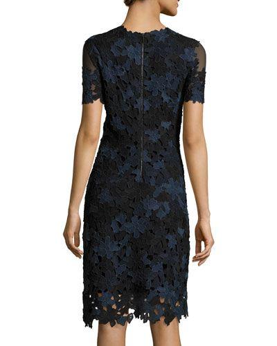 97f00af73045a TBH6C Elie Tahari Ophelia Short-Sleeve Lace Sheath Dress | I Like My ...