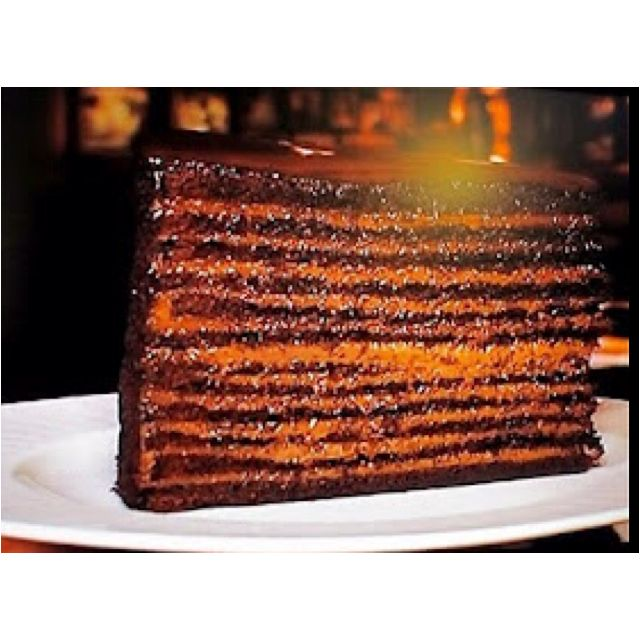 24 layer chocolate cake from Strip House Steakhouse in NYC.