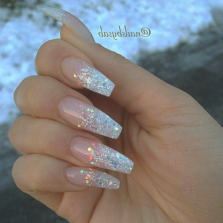 Photo of Sparkly acrylic coffin nails 11. Ombre nails with clear rhinestone accent nail … …