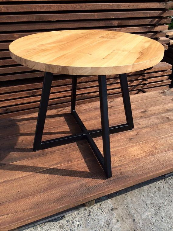 Round Table Modern Design Steel And Timber Mesas Redondas De