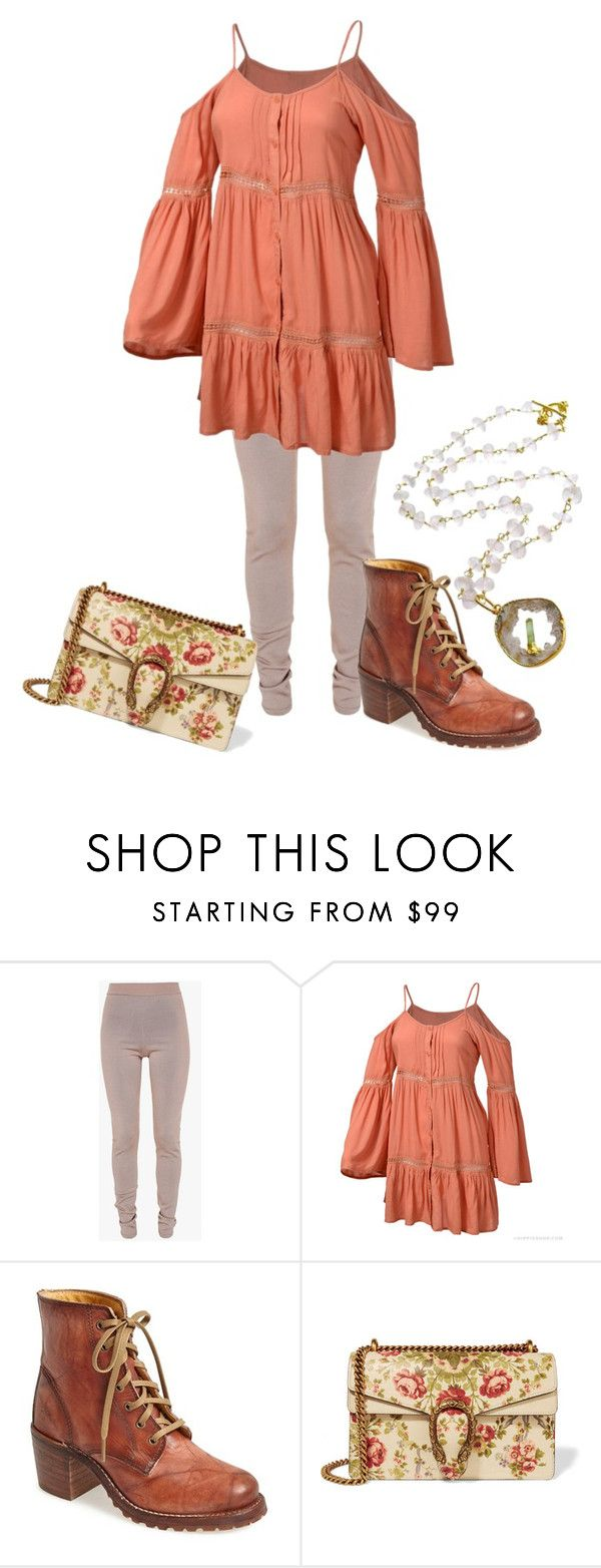 """Untitled #3008"" by roseunspindle ❤ liked on Polyvore featuring Balmain, Frye, Gucci, floral, hippie and Leggings"