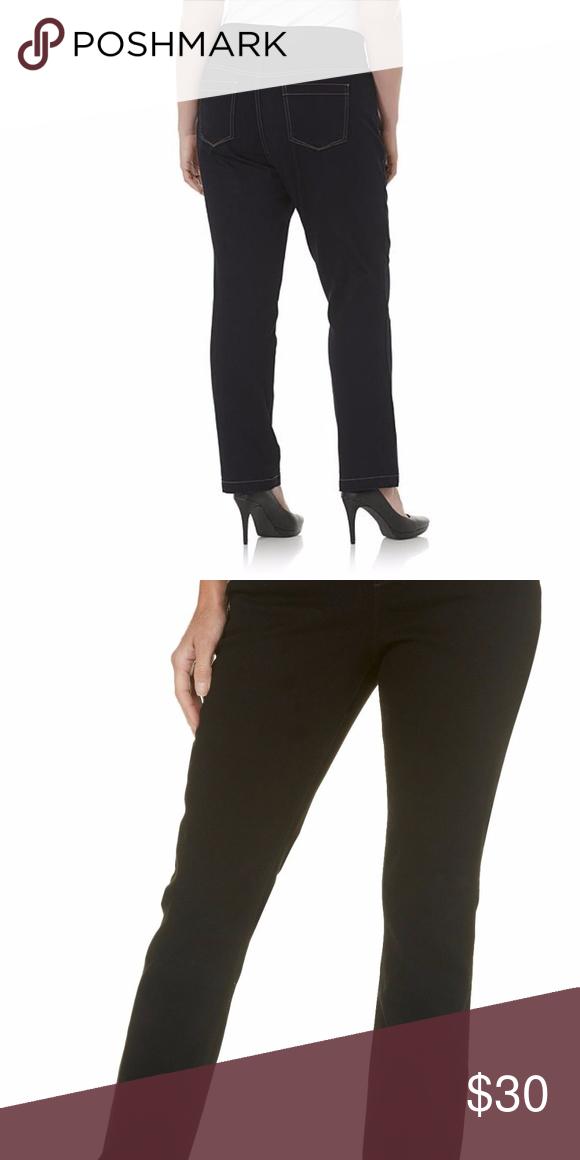 2 Nwt Gloria Vanderbilt Avery Straight Leg Pull On Jeans Black Or Blue Size