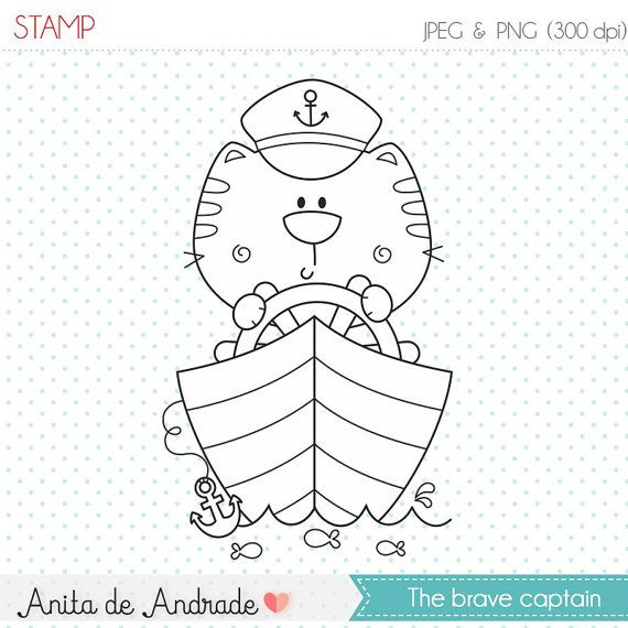 50 OFF Ships Captain Sailor Cat Stamp