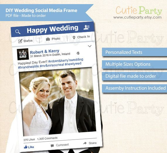 Social Media Large Photo Prop Frame Wedding Facebook Style Frame Celebration Printable Photo Prop Frame Personal Photo Frame Prop Wedding Social Photo Props