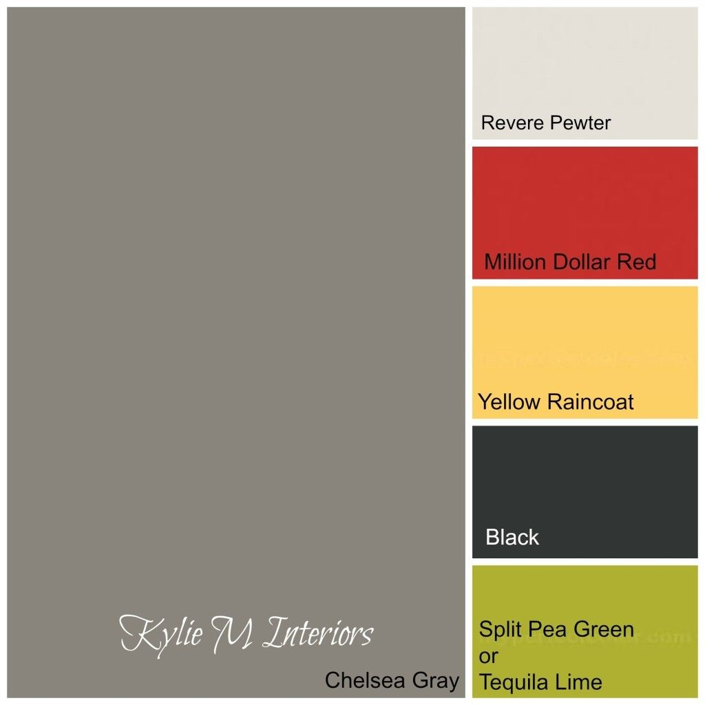 Yellow colour palette benjamin moore paint collection image via - Boys Room Colour Paint Palette Using Chelsea Gray Green Yellow Red And Black