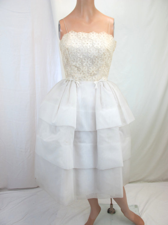1960s White Lace Party Prom Dress | White lace, 1960s and Prom