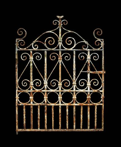 Antique Wrought Iron Pedestrian Side Gate With Images Iron