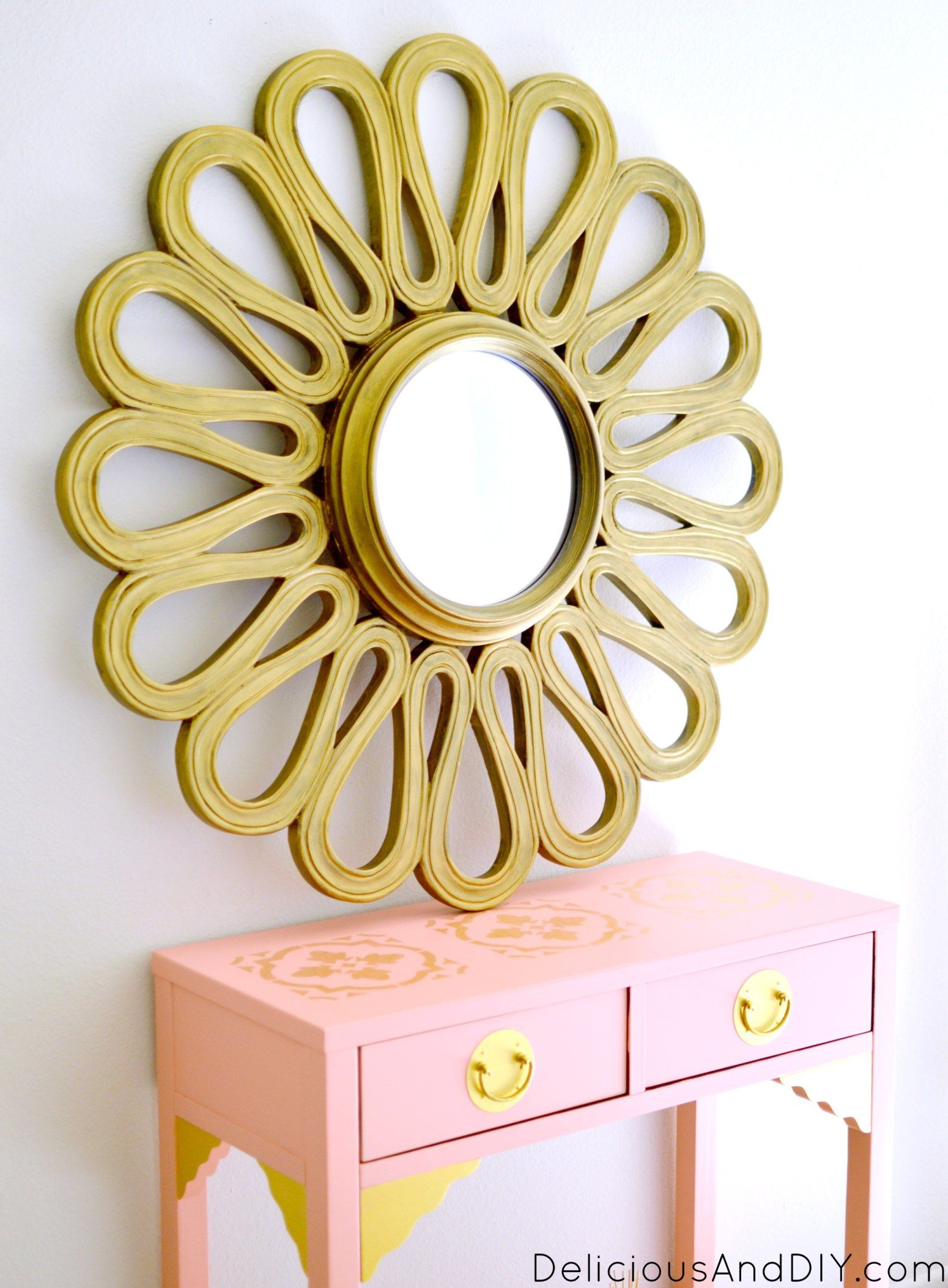 Gold Flower Mirror | Recycled mirrors, Flower mirror and Painted mirrors