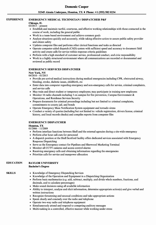 Truck Dispatcher Job Description Resume Luxury Emergency Dispatcher Resume Samples Sales Resume Examples Job Resume Examples Resume Examples