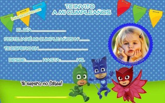 Invitación De Cumpleaños Pj Masks Con Foto Invitaciones De