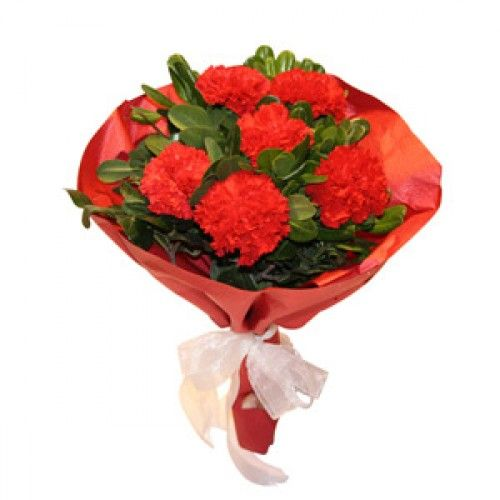 Red Carnation Bunch Bunch Of 6 Red Carnations In A Matching Paper Packing With Lot Of Dries And Fillers 3 Red Carnation Send Flowers Online Delivery Gifts