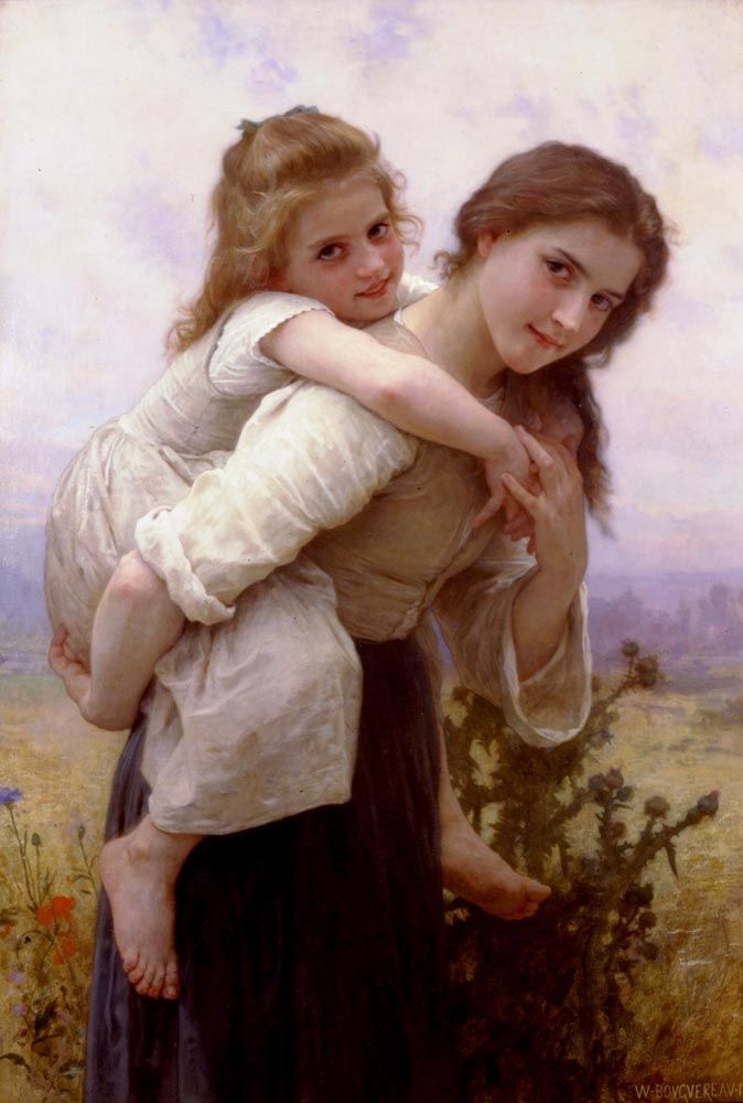 Lete Girl Garland Fruit 8x10 Print 1145 Summer by William Adolphe Bouguereau