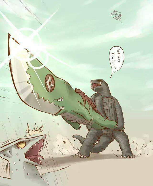 """""""so you wanna see a knife?!"""" Gamera wields Guillion!"""