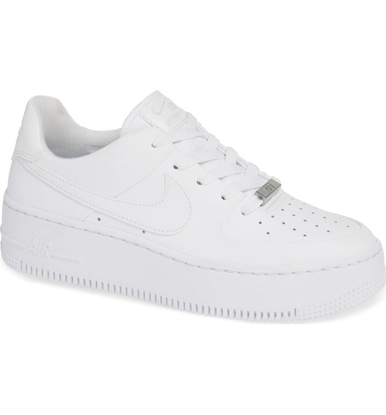 new concept 8fccb 4752b Air Force 1 Sage Low Platform Sneaker, Main, color, WHITE  WHITE  WHITE