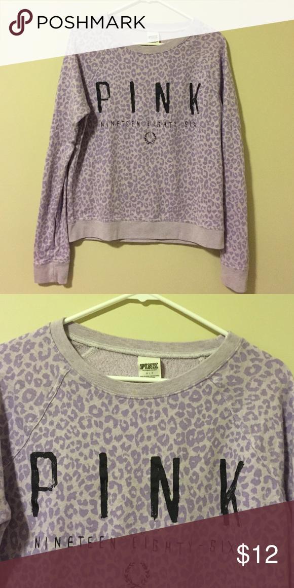 Pink VS sweatshirt Purple cheetah sweatshirt from Pink VS. size small. Imperfection as pictured, but unnoticeable when worn. PINK Victoria's Secret Tops Sweatshirts & Hoodies