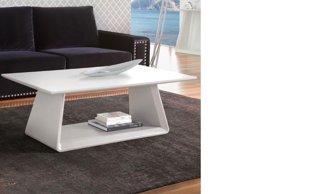 table basse design laque blanc mat