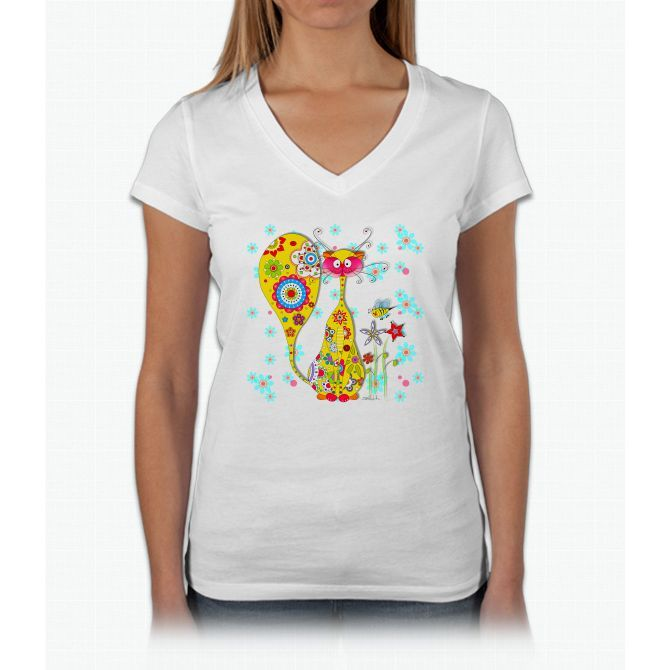 A Cat And A Little Bee Bee Movie Womens V-Neck T-Shirt