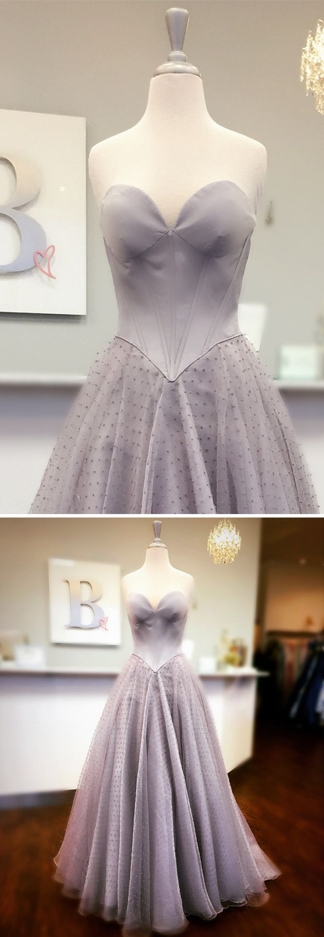 Sweetheart grey long prom dress elegant prom dress ball gown