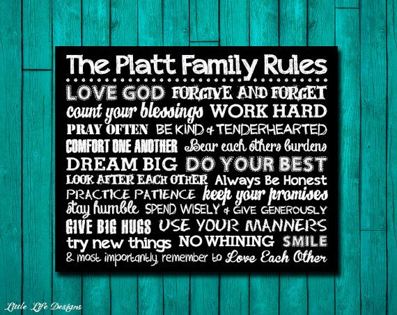 Family Rules Sign. Family Rules Wall Art. by LittleLifeDesigns ...