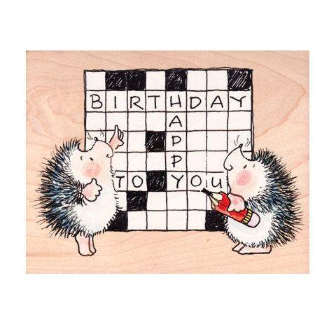 Crossword Happy Birthday Stamp Hedge Word Hedgehog Rubber Stamp Penny Black Mounted Woodblock Craft Stamp Penny Black Cards Penny Black Stamps Penny Black