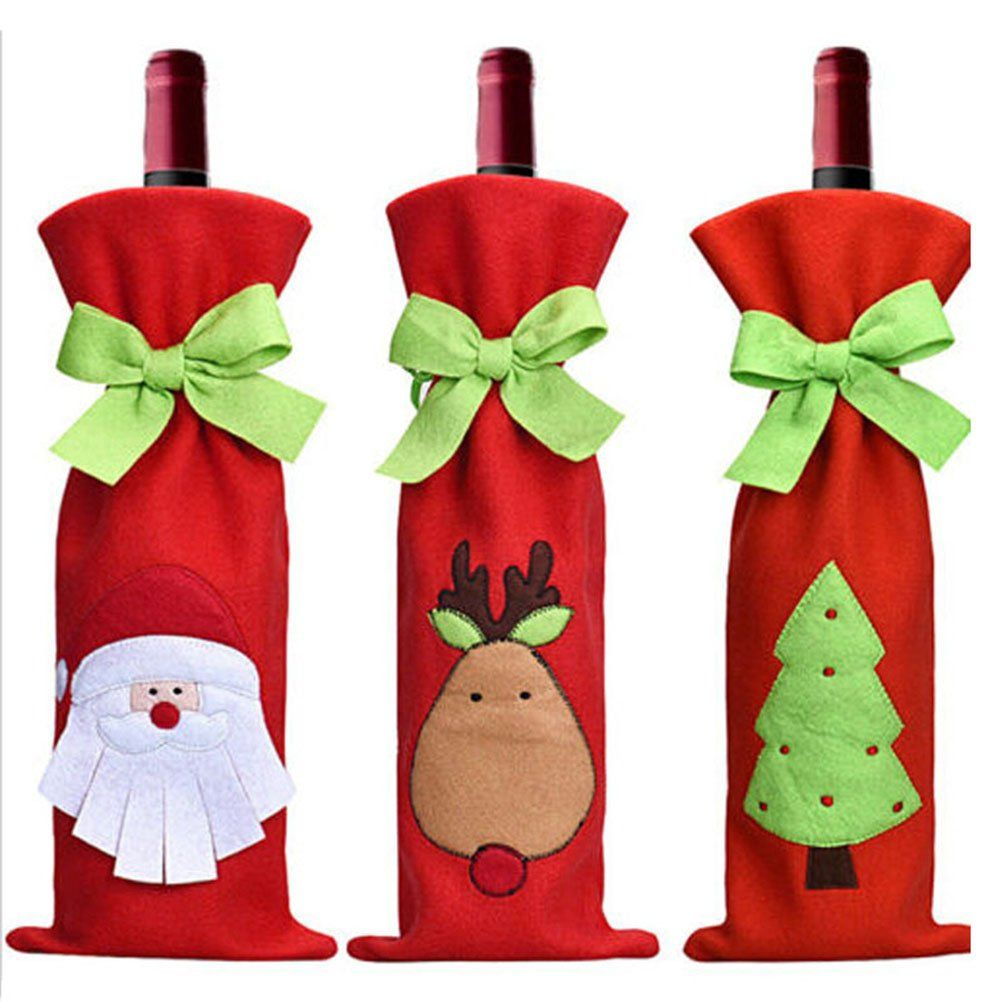 Tinksky 3pcs Cute Christmas Santa Claus Reindeer Christmas Tree Pattern Christmas Wine Bottles Christmas Wine Bottle Covers Christmas Dinner Party Decorations