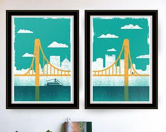 Pittsburgh Art Pittsburgh Print Silkscreen City Of Bridges 1 Pittsburgh Poster Bridge Art Wall Decor Wall Art P Pittsburgh Art Bridge Art Screen Printing Art