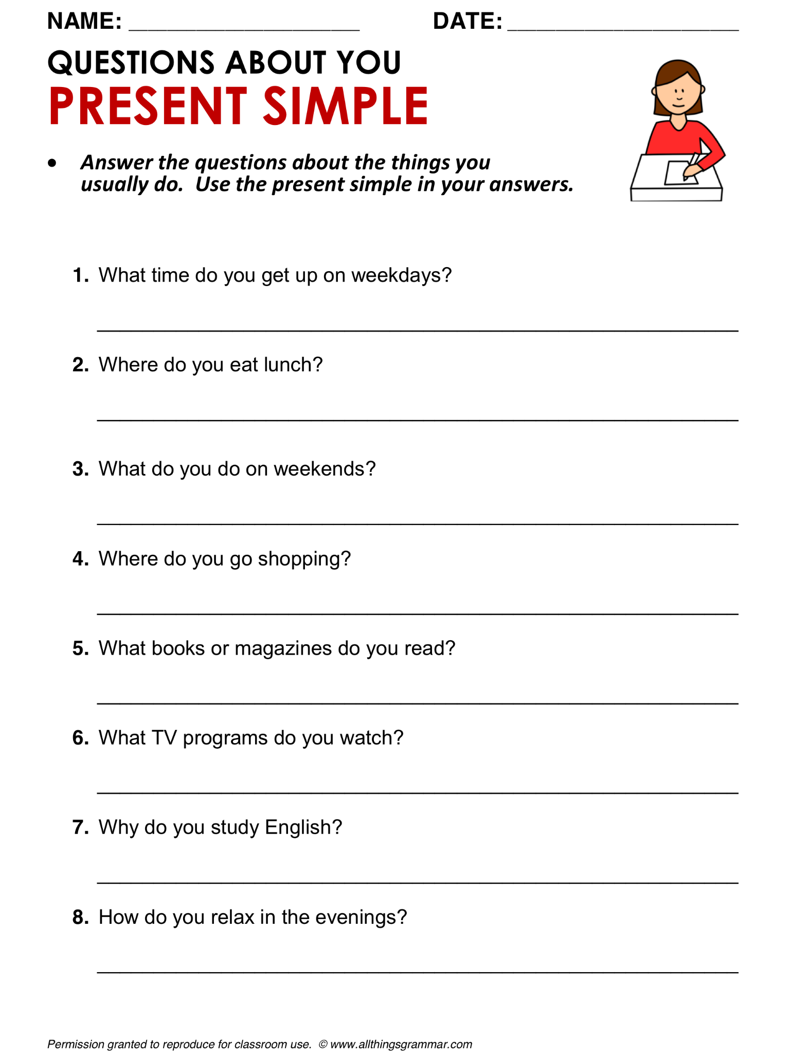 English Grammar Questions About You Grammar Amp Writing